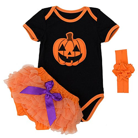 stylesilove Infant Baby Girls Pumpkin Short Sleeve Cotton Romper and Bloomer with Headband 3pcs Halloween Outfit