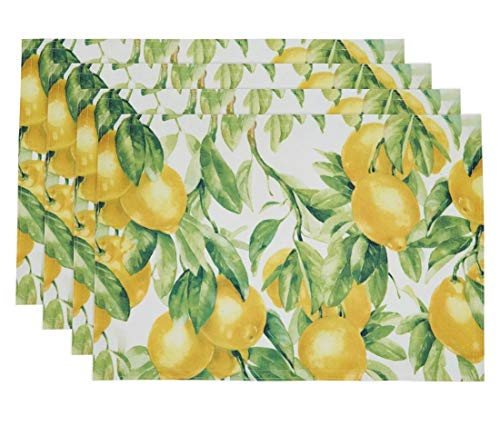 Fennco Styles Lemon Printed Design Placemats 13 x 19 Inch, Set of 4 - Multicolored Table Mats for Home Décor, Dining Room, Banquets, Everyday Use and Special Occasions