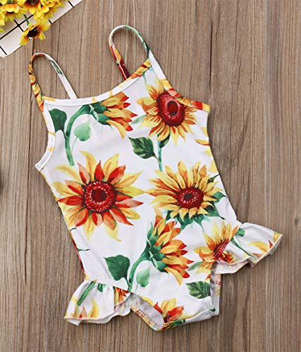 Styles I Love Baby Toddler Girls Yellow Sunflower Ruffle One-Piece Swimsuit Bathing Suit Beach Swimwear 1-Piece Swimsuit