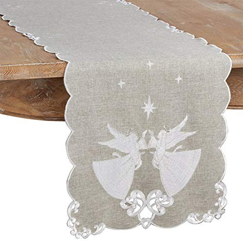 Fennco Styles Christmas Embroidered Angel Design Table Runner 16 x 72 Inch