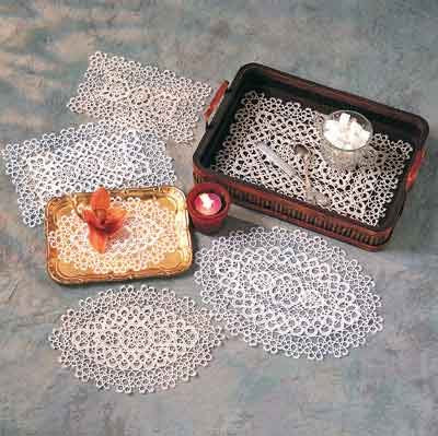 TCC Handmade All-Over Tatting Lace Traycloths and Placemats. 100% Cotton Knitted. Four Pieces