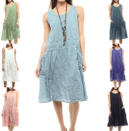 Styles I Love Women's Embroidered Pleated Loose Fit Dress with Front Pockets, Size S/M