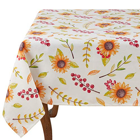 Fennco Styles Watercolor Tropical Sunflower 55 x 55 Inch Tablecloth for Home Décor, Banquets and Special Occasions