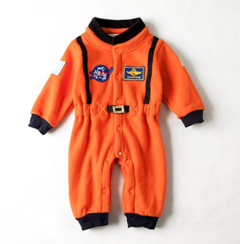 stylesilove Baby Toddler Boy Orange Astronaut Fleece Costume Jumpsuit Cosplay Party Halloween Baby Boy Clothes