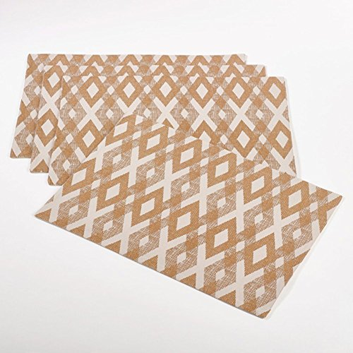 "Fennco Styles Seraphina Diamond Table Cotton Placemat - Set of 4-13"" X 19"""