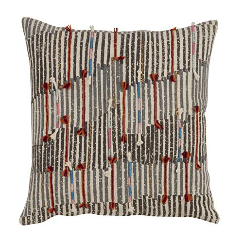 Fennco Styles Lima Collection Bohemian Variety Design 100% Pure Cotton 18 x 18 Inch Decorative Throw Pillow
