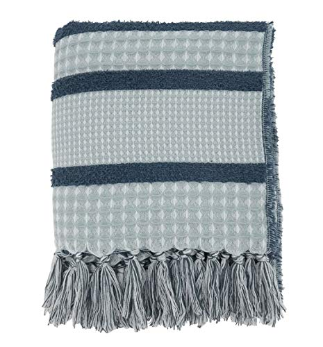 "Fennco Styles Reversible Waffle Weave Striped Fringe Throw Blanket 50"" W x 60"" L, 2 Colors"