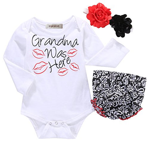 Styles I Love Baby Girls Grandma was Here Cotton Romper with Shorts and Headband 3pcs Summer Outfit