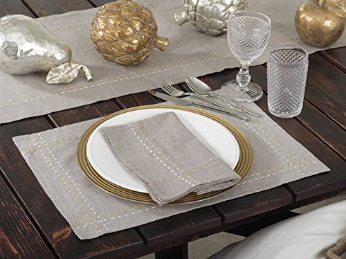 Fennco Styles Anais Embroidered Silver and Gold Line Cotton Table Runner and Placemat