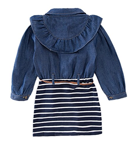 StylesILove Little Girl Ruffle Denim Striped Mini One-Piece Tunic Dress with Belt