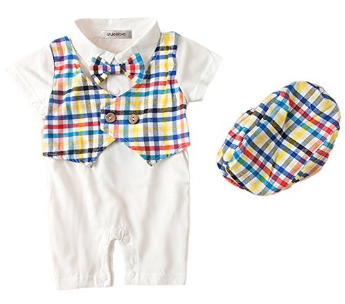 stylesilove Baby Boy Cute Pattern Tuxedo Romper and Hat, 2 Colors