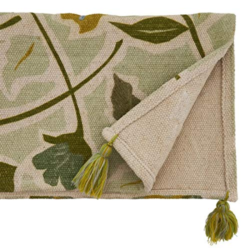 "Fennco Styles Embroidered Floral Pure Cotton Table Runner 16"" W x 72"" L - Green Flower Rectangular Table Cover for Home Décor, Dining Room, Banquets, Everyday Use and Special Occasions"