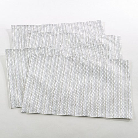 Fennco Styles Gloria Collection Stitched Design Placemat - 2 Colors - Set of 4 (Ivory)