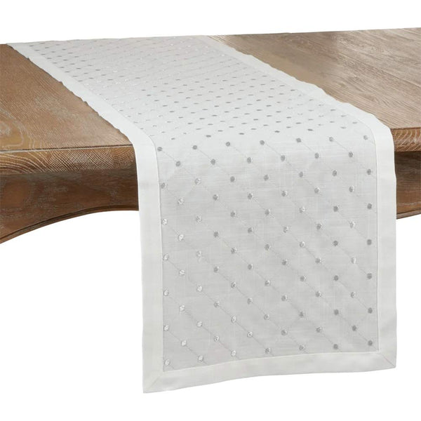 Fennco Styles Silver Embroidered Diamond Design Table Linen Collection