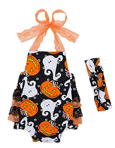 StylesILove Infant Baby Girls Spooky Boo Pumpkin Lace Tiered Cotton Sunsuit Romper with Headband 2pcs Halloween Outfit