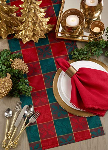 Fennco Styles Royal de Noel Classic Plaid Holiday Square Tablecloth - 5 Size (Red and Green)