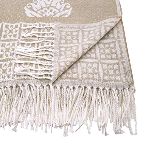 Fennco Styles Broderie Collection Baroque Medallion Pattern Tasseled 50 x 60 Inch Throw
