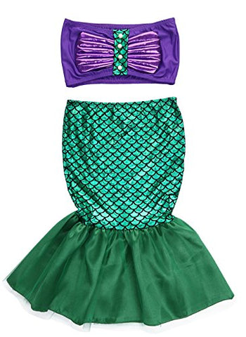 stylesilove.com Little Girls Princess Mermaid Purple Tube Top and Tail Skirt 2pcs Halloween Costume Outfit