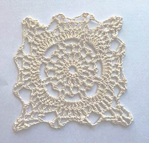 Fennco Styles Handmade Crochet Lace Cotton Doilies - 4-inch Square