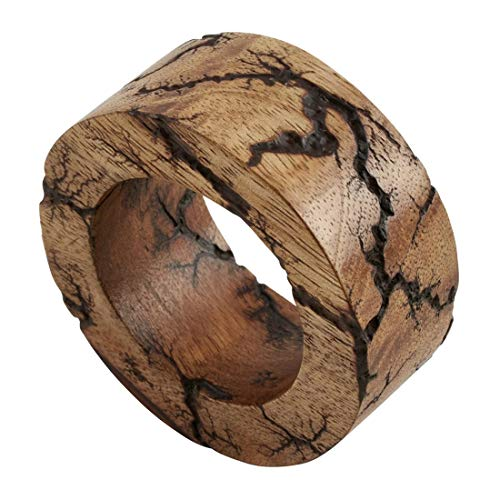 Fennco Styles Mango Wood Bangle Napkin Rings, Set of 4 - Natural Decorative Napkin Holders for Home, Dining Room, Banquet, Family Gathering, Holiday and Special Occasion