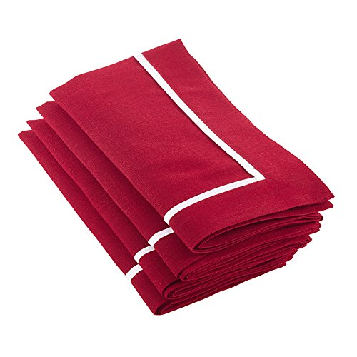 Fennco Styles Classic Pleated Red Napkin, Set of 4