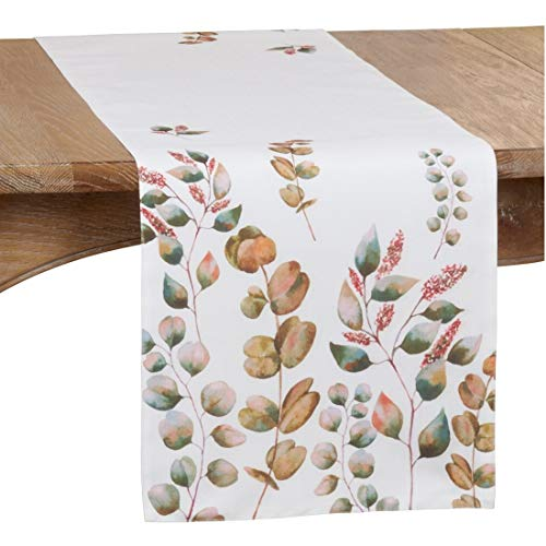 "Fennco Styles Fall Leaf Print Decorative Table Runner 16"" W x 70"" L - White Autumn Table Cover for Dining Table, Banquets, Special Events and Home Décor"