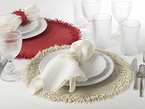 Fennco Styles Isla Handmade Glass Beaded Design 15-inch Round Placemat - 1-Piece