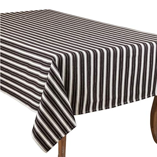 Fennco Styles Classic Striped Cotton Tablecloth - Black & White Table Cover for Banquets, Special Events, Everyday Use and Home Décor