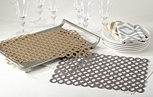 "Fennco Styles Circle Cutout Design Placemat - 14""x18"" - 4-Piece"