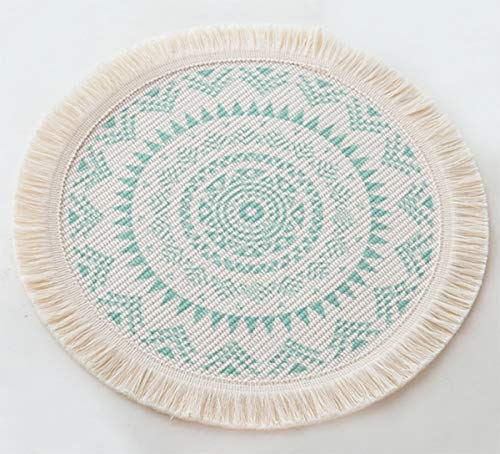 Fennco Styles Boho Mandala Fringe Decorative Cotton Placemats 13-inch Round, Set of 4