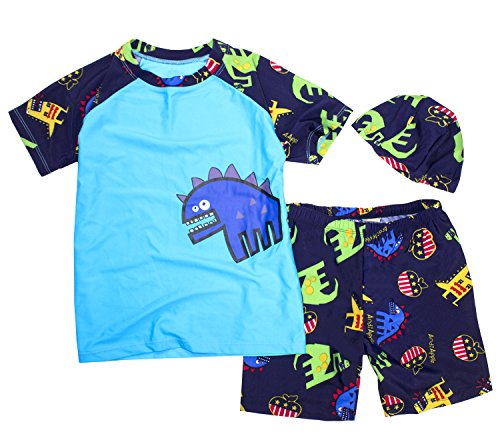 StylesiLove Kids Boy Cartoon Dinosaur Shark Rash Guard Top & Swim Shorts with Hat 3 pcs Set