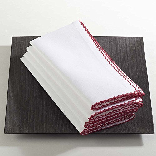 Fennco Styles Whip Stitched Elegant Napkins, Set of 4, 4 Colors