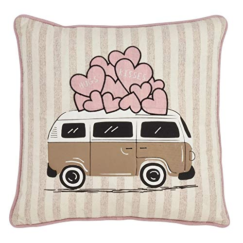 Fennco Styles Love Vehicle Decorative Throw Pillow – Valentine Holidays Cushion for Couch, Sofa, Bedroom, Office and Living Room Décor