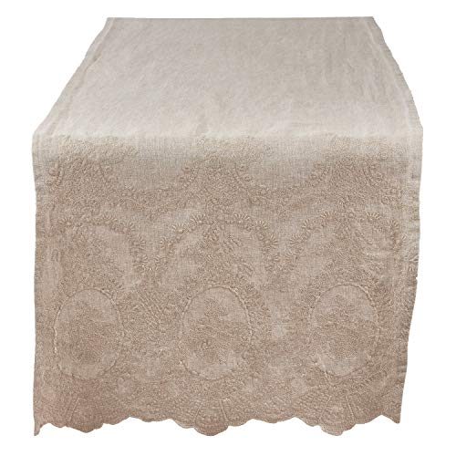Fennco Styles Matilda Collection Classic Embroidered Stonewashed Pure Linen 16 x 72 Inch Table Runner – Natural Table Runner for Banquets, Wedding, Special Events and Home Décor