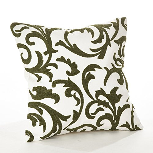 Fennco Styles Pollice Verde Collection Crewel Work 17 x 17 Inch Cotton Throw Pillow - Geometric Throw Pillow for Couch, Bedroom, Living Room Décor