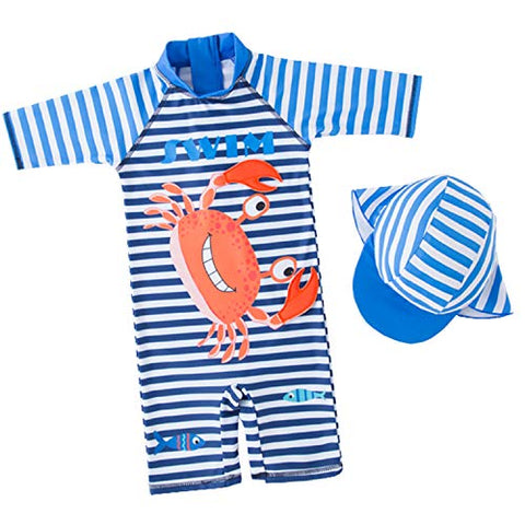 stylesilove Kid Boys Crab Striped Printed One-Piece Rash Guard with Sun Hat 2pcs Swimsuit Pool Swimwear Beach Bathing Suit