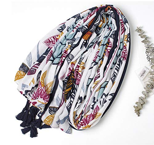 StylesILove Spring Summer Multicolored Floral Printed Lightweight Tassel Oblong Scarf Bohemian Wrap Shawl for Women Girls
