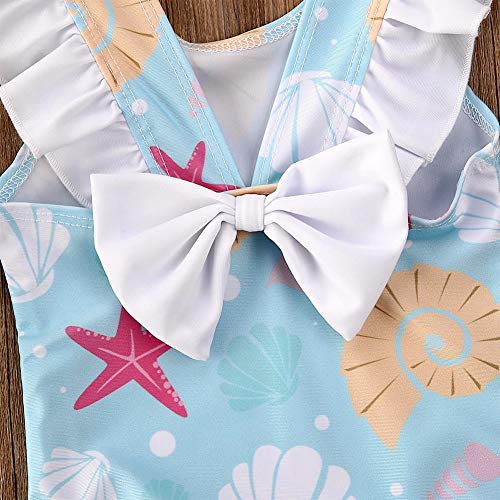 Styles I Love Baby Toddler Girls Light Blue Seashell Ruffle One-Piece Swimsuit Bathing Suit Beach Swimwear 1-Piece Swimsuit