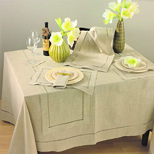 Fennco Styles Toscana Contemporary Linen Blend Table Cloth for Dinner Table, Parties, Wedding Decorations