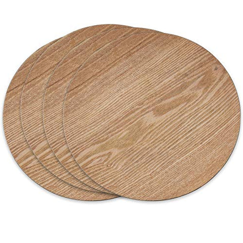 Fennco Styles Solid Color Faux Wood Design Decorative Charger Plate-Set of 4