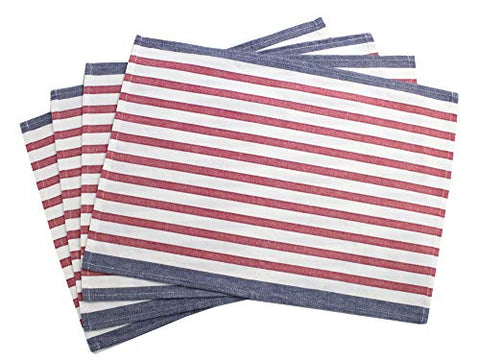 "Fennco Styles American Flag Striped Cotton Table Linen, Napkins, Placemat (14""x20"" Placemat- Set of 4)"