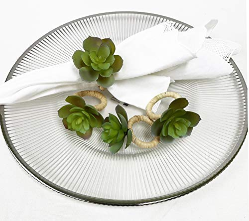 Fennco Styles Handmade Desert Succulent Flower Decorative Napkin Rings, Set of 4