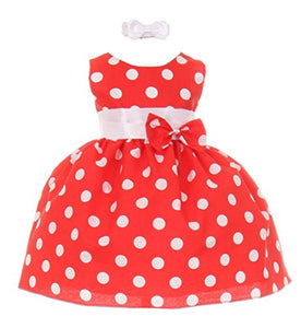 StylesILove Polka Dot Baby Girl Dress with Headband, Made in USA