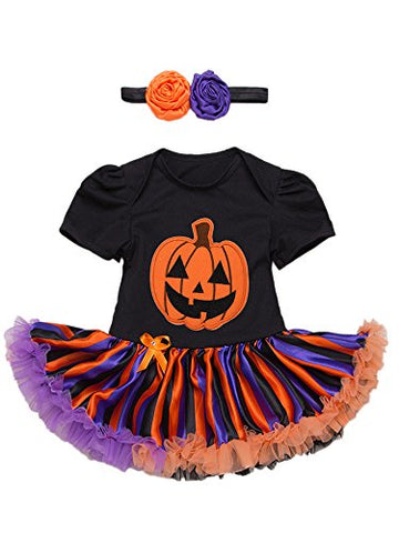 stylesilove Infant Baby Girls Pumpkin Short Sleeve Cotton Romper Dress and Headband 2pcs Halloween Outfit