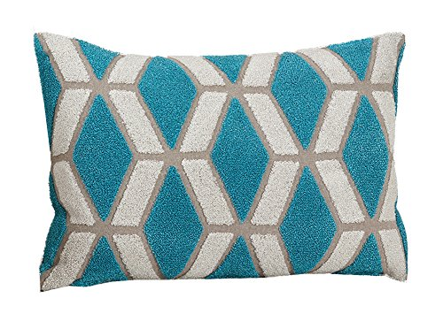 "Fennco Styles Embroidered Geo Cotton Decorative Throw Pillow, 12""W x 18""L"