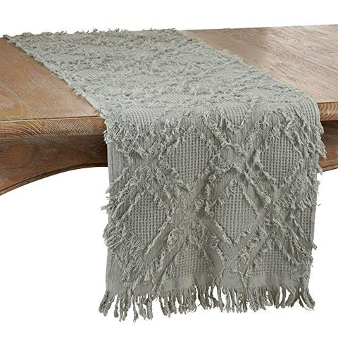 "Fennco Styles Waffle Weave Modern Cotton Rectangular Table Runner with Fringe 16""W x 72""L"