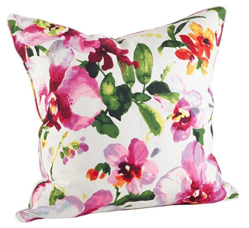 "Fennco Styles Home Decor Orchid Flower Duck Filled Pillow - 20"" Square (100% Linen)"