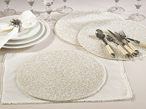 Fennco Styles Handmade Cora Glass Beaded 15-inch Round Placemat - 1-Piece