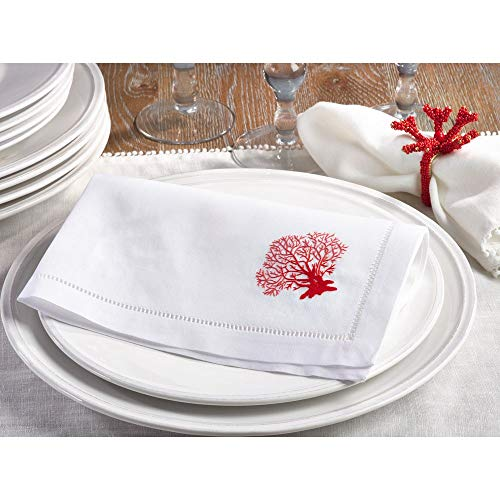 Fennco Styles Embroidered Coral & Hemstitch 100% Cotton 20 Inch Square Dinner Napkins, Set of 4 – White Elegant Cloth Napkins for Family Dinners, Wedding Parties, Home Décor & Special Events