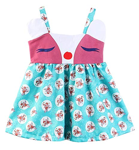 Styles I Love Little Toddler Girls 3D Ears Reindeer Summer Spring Cotton Dress School Party Birthday Casual Outfit